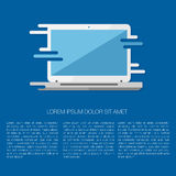 Vector illustration of laptop. Modern flat vector illustration of laptop in stylish retro blue colors. For web design and applications Stock Photography