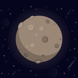 Vector illustration of a large glowing moon with craters and valleys, stars, meteorites, kamet in space on  dar Royalty Free Stock Image