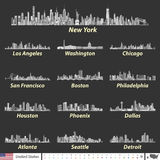 Vector illustration of largest United States city skylines in black and white color palette. Navigation, location and travel icons. Largest United States city Stock Photography
