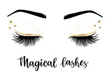 Vector illustration of lashes. With `Magical` lashes inspiration for or beauty salon, lash extensions maker, brow master Royalty Free Stock Images