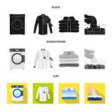 Vector design of laundry and clean logo. Set of laundry and clothes stock symbol for web. Vector illustration of laundry and clean icon. Collection of laundry stock illustration