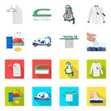 Vector design of laundry and clean logo. Collection of laundry and clothes stock vector illustration. Vector illustration of laundry and clean icon. Set of royalty free illustration