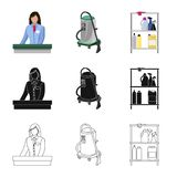 Vector illustration of laundry and clean icon. Set of laundry and clothes stock symbol for web. Isolated object of laundry and clean symbol. Collection of royalty free illustration