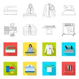 Vector illustration of laundry and clean icon. Set of laundry and clothes stock symbol for web. Isolated object of laundry and clean symbol. Collection of stock illustration