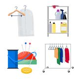 Vector design of laundry and clean logo. Collection of laundry and clothes stock symbol for web. Vector illustration of laundry and clean icon. Set of laundry royalty free illustration