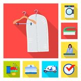 Vector illustration of laundry and clean logo. Collection of laundry and clothes vector icon for stock. Isolated object of laundry and clean icon. Set of stock illustration
