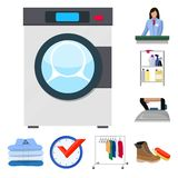 Vector illustration of laundry and clean logo. Set of laundry and clothes vector icon for stock. Isolated object of laundry and clean icon. Collection of vector illustration
