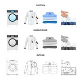 Vector illustration of laundry and clean sign. Set of laundry and clothes stock vector illustration. Isolated object of laundry and clean logo. Collection of royalty free illustration