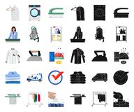 Vector illustration of laundry and clean symbol. Set of laundry and clothes stock vector illustration. Isolated object of laundry and clean sign. Collection of stock illustration