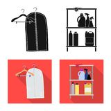 Vector design of laundry and clean icon. Collection of laundry and clothes stock vector illustration. Vector illustration of laundry and clean symbol. Set of royalty free illustration