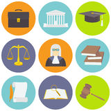 Vector illustration of law icons set in flat style Stock Photo