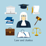 Vector illustration of law icons set in flat style Royalty Free Stock Images