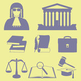Vector illustration of law icons set in line style Stock Photos