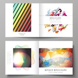 The vector illustration of the layout of two covers templates for square design bifold brochure, magazine, flyer. The vector illustration of the editable layout Royalty Free Stock Image