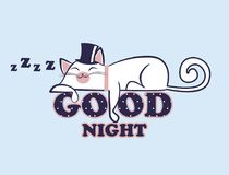 Vector of lazy anime kawaii white cat in hat lying on the polka dot inscription Good night. Sleeping kitten with closed eyes. Vector illustration of lazy anime Stock Photos