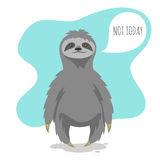 Vector illustration of lazy sloth with the speech bubble Stock Image