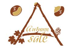 Vector illustration of leaflet on autumn discounts with twigs, l. Eaves and symbols of discounts - on white background stock illustration