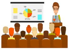 Speaker concept vector illustration in flat style. Vector illustration of lecturer male giving presentation, lecture or seminar to the audience. Conference Stock Image