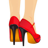 Vector illustration legs red shoes Royalty Free Stock Photos