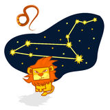 Vector illustration of the Leo with a rectangular face. Cartoon Zodiac signs. A schematic arrangement of stars in the constellation Leo Stock Photos