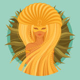 Vector Illustration of leo zodiac sign. Beautiful girl in a carnival mask Royalty Free Stock Images