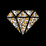 Vector illustration with a leopard diamond Royalty Free Stock Photo