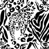 Vector illustration leopard print seamless pattern. Black and white tiger hand drawn background. Vector illustration. Vector illustration leopard print seamless vector illustration