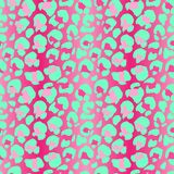 Vector illustration leopard print seamless pattern. Pink and mint hand drawn background. Vector illustration leopard print seamless pattern. Pink and mint hand stock illustration
