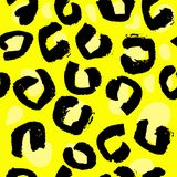 Vector illustration leopard print seamless pattern. Yellow hand drawn background. Vector illustration leopard print seamless pattern. Yellow hand drawn Stock Photo