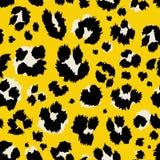 Vector illustration leopard print seamless pattern. Yellow hand drawn background. royalty free illustration