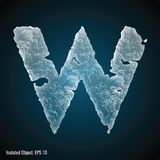 Ice Font of Letter W. Vector illustration of letter W on dark background, isolated object royalty free illustration