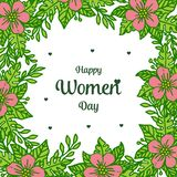 Vector illustration lettering happy women day for very beautiful pink flower frames bloom stock illustration