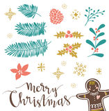 Vector illustration with lettering, isolated christmas branhches and gingerbread man. Royalty Free Stock Photography