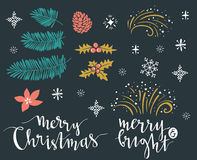 Vector illustration with lettering and isolated christmas branhches. Template for Greeting Scrap booking, Congratulations, Invitations, stickers. Vector royalty free illustration