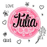 Vector illustration with Lettering Name Julia. Hand drawn. vector illustration