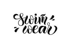 Swimwear vector illustration of lettering poster, logotype, text for clothes shop, catalog, collection, ad, special offer, accesso. Vector illustration of vector illustration