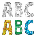 Vector illustration of letters A B C with different ornament Royalty Free Stock Photography