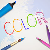 Vector illustration of letters from colored pencils Royalty Free Stock Photo