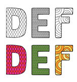 Vector illustration of letters D E F with differen Royalty Free Stock Images