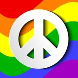 Gbt flag with white peace sign. Vector illustration of lgbt flag with white peace sign Royalty Free Stock Photo