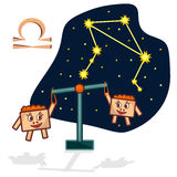 Vector illustration of the Libra with a rectangular faces. Cartoon Zodiac signs.  A schematic arrangement of stars in the constellation Libra Royalty Free Stock Photography