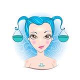 Vector illustration of Libra zodiac sign. Illustration of astrological sign of Libra. Beautiful fantasy girl Stock Image