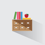 Vector illustration library catalog of books Stock Image