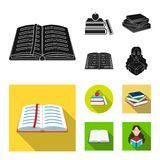 Vector illustration of library and textbook icon. Collection of library and school vector icon for stock. Isolated object of library and textbook symbol. Set of royalty free illustration
