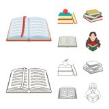 Vector design of library and textbook sign. Set of library and school vector icon for stock. Vector illustration of library and textbook logo. Collection of royalty free illustration