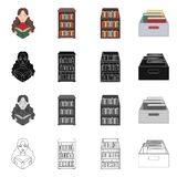 Vector illustration of library and textbook logo. Set of library and school vector icon for stock. Isolated object of library and textbook icon. Collection of vector illustration