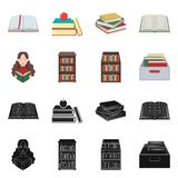 Vector illustration of library and textbook sign. Collection of library and school vector icon for stock. Isolated object of library and textbook logo. Set of vector illustration