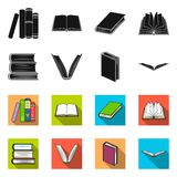 Vector design of library and textbook symbol. Set of library and school stock symbol for web. Vector illustration of library and textbook sign. Collection of royalty free illustration