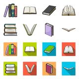 Vector design of library and textbook icon. Set of library and school stock symbol for web. Vector illustration of library and textbook symbol. Collection of royalty free illustration