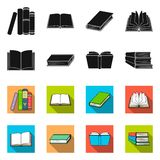 Vector design of library and textbook icon. Set of library and school vector icon for stock. Vector illustration of library and textbook symbol. Collection of royalty free illustration